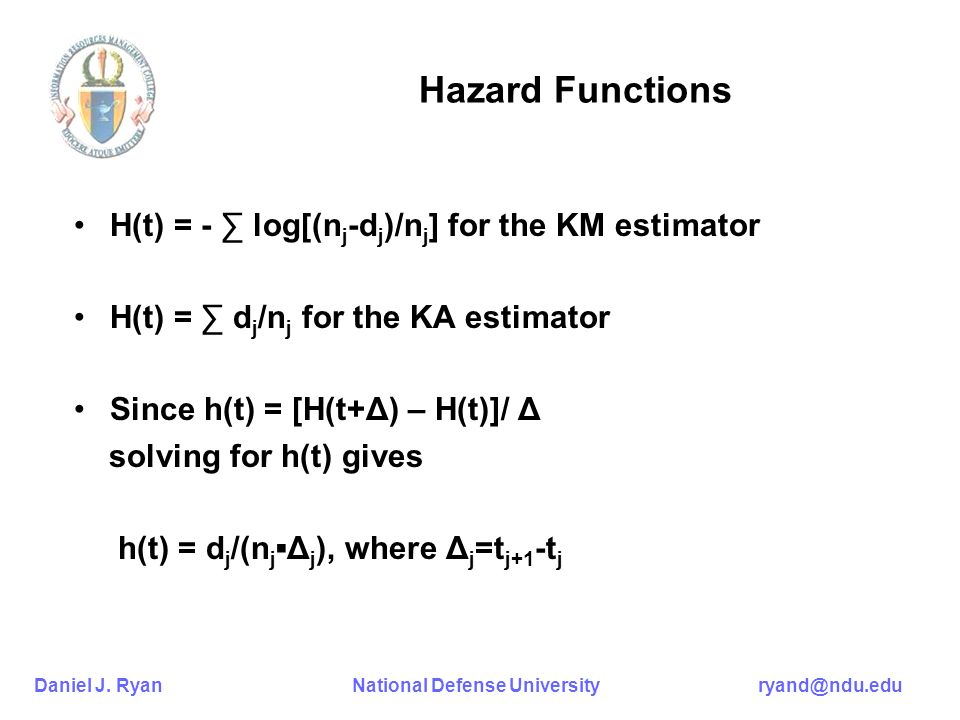 Hazard Functions H(t) = - ∑ log[(nj-dj)/nj] for the KM estimator